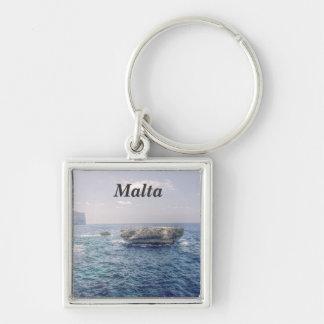 Malta Coast Silver-Colored Square Keychain