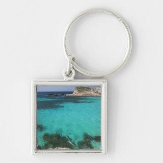 Malta, Comino Island, The Blue Lagoon Silver-Colored Square Keychain