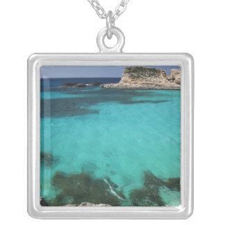 Malta, Comino Island, The Blue Lagoon Square Pendant Necklace