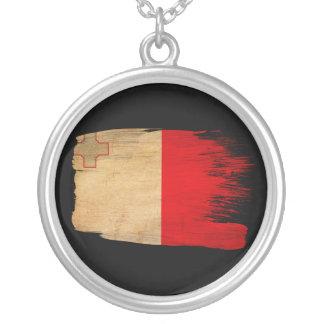 Malta Flag Round Pendant Necklace