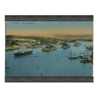 Malta - Grand Harbour, Vintage Postcard