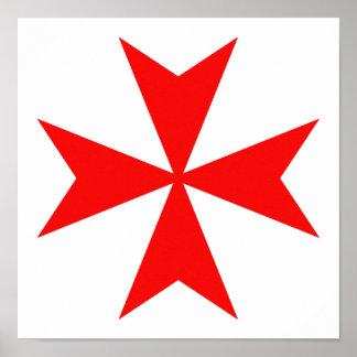 malta templar knights red cross religion symbol poster