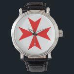 "malta templar knights red cross religion symbol wristwatch<br><div class=""desc"">malta templar knights red cross religion symbol</div>"