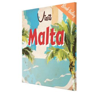 Malta vacation Vintage Travel Poster. Canvas Print