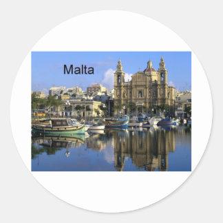 Malta Vallete Harbor (St.K) Classic Round Sticker