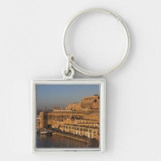 Malta, Valletta, harbor view from Lower Barrakka Silver-Colored Square Keychain