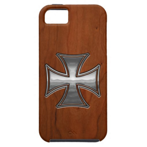Maltés de madera de acero funda para iPhone 5 tough