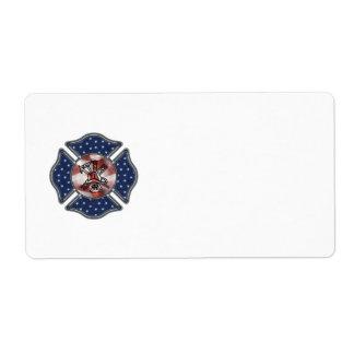 Maltés patriótico del bombero etiqueta de envío