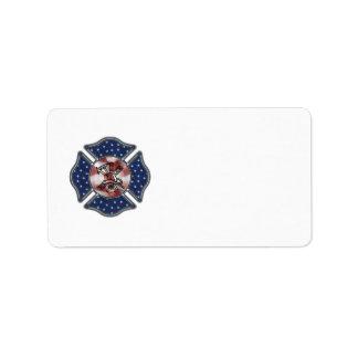 Maltés patriótico del bombero etiqueta de dirección