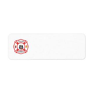 Maltés rojo del bombero futuro etiqueta de remite
