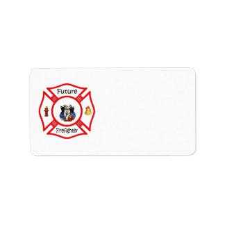Maltés rojo del bombero futuro etiqueta de dirección