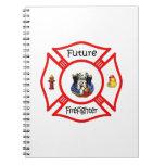 Maltés rojo del bombero futuro libro de apuntes con espiral