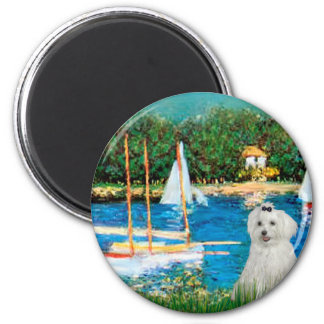 MALTESE 10 - Sailboats 2 Inch Round Magnet