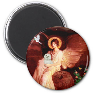 Maltese 11 - Seated Angel 2 Inch Round Magnet