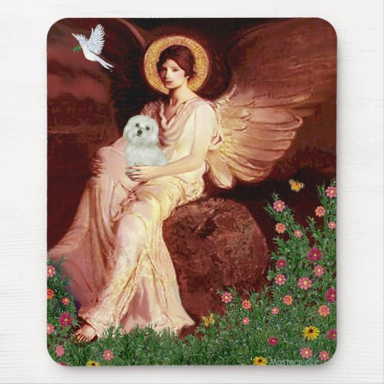 Maltese 11 - Seated Angel Mouse Pad