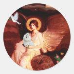 Maltese 7 - Seated Angel Round Sticker