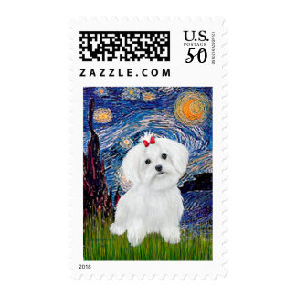 Maltese 8 pup - Starry Night Postage