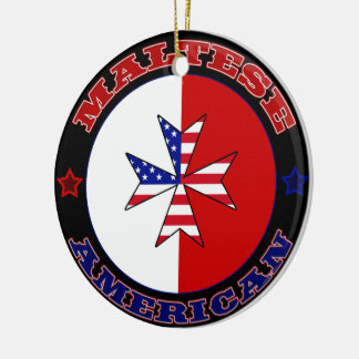 Maltese American Cross Ensign Ceramic Ornament