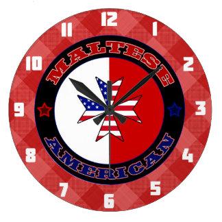 Maltese American Cross Ensign Clock