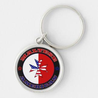 Maltese American Cross Ensign Keychain