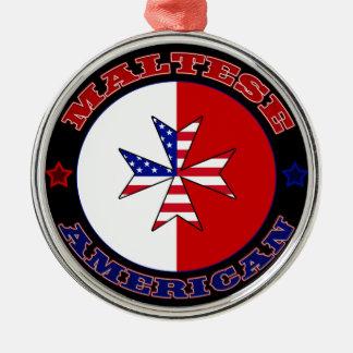 Maltese American Cross Ensign Metal Ornament
