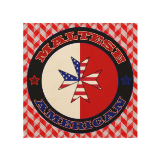 Maltese American Cross Ensign Wood Canvases