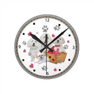 Maltese Basket Filled With Love Clock