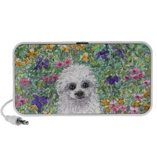 Maltese Bichon puppy in garden iPod Speaker