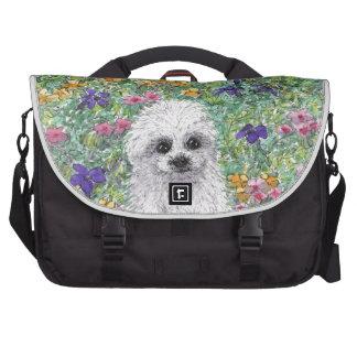 Maltese Bichon puppy in garden Laptop Messenger Bag