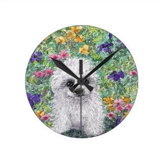 Maltese Bichon puppy in garden Round Clock