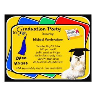 Maltese Blue Graduation Party Invitation