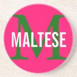 Maltese Breed Monogram Design Drink Coaster