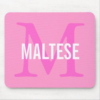 Maltese Breed Monogram Design Mouse Pad