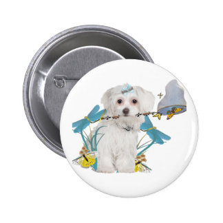 Maltese Butterfly Catcher Gifts Pinback Button