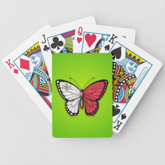 Maltese Butterfly Flag on Green Bicycle Playing Cards