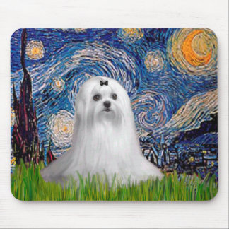 Maltese (C) - Starry Night Mouse Pad