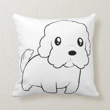 Beach Themed maltese cartoon throw pillow