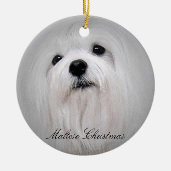 Maltese Christmas Ceramic Ornament