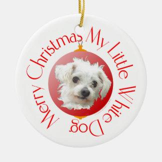 Maltese Christmas Little White Dog Christmas Ornaments