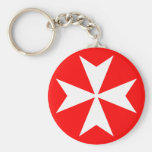 Maltese Cross Basic Round Button Keychain