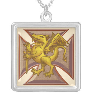 Maltese Cross Dragon Silver Plated Necklace