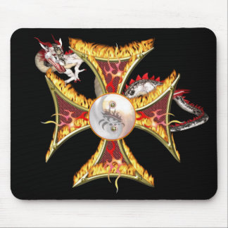 Maltese cross fire mouse pad
