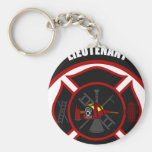 Maltese Cross - Lieutenant (Red Helmet) Basic Round Button Keychain