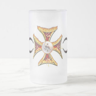Maltese Cross on Fire Frosted Glass Beer Mug