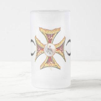 Maltese Cross on Fire Frosted Glass Beer Mug