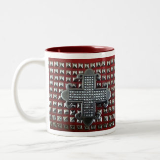 MALTESE CROSS ON STUDS ON RED MUG