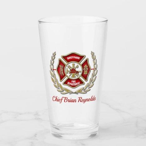 Maltese Cross Personalized Firefighter Pint Glass