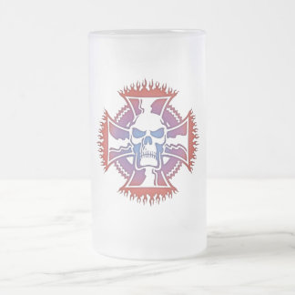 Maltese Cross Pipes Frosted Glass Beer Mug