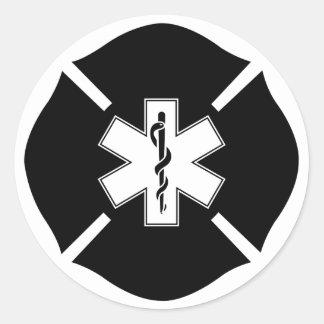 Maltese Cross & Star of Life Classic Round Sticker