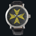 "Maltese Cross Watch<br><div class=""desc"">The Maltese cross, also known as the Amalfi cross, is the cross symbol associated with the Knights Hospitaller (the Knights of Malta) and by extension with the island of Malta. The cross is eight-pointed and has the form of four &quot;V&quot;-shaped elements, each joining the others at its vertex, leaving the...</div>"